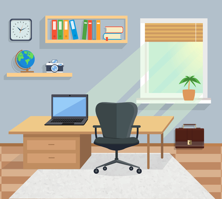 window display: Modern office interior with designer desktop in flat design. Interior office room. Office space. Vector illustration. Working place in office interior workplace Illustration