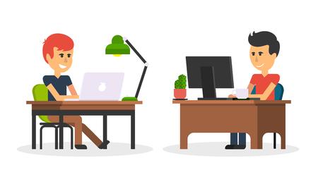 le travail de l'homme avec l'ordinateur portable design plat. Ordinateur et homme d'affaires ouvrier, homme, bureau, bureau, homme d'affaires personne à la table de travail, le caractère travail gestionnaire illustration vectorielle