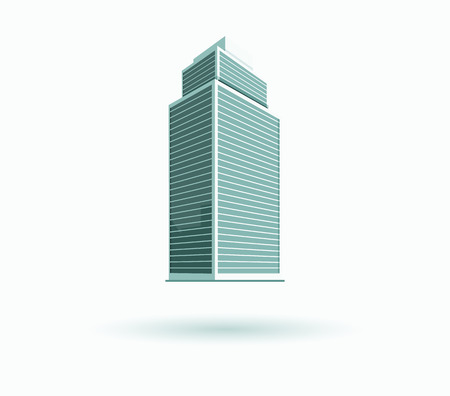 office building: Skyscraper building icon. Black building and isolated skyscraper, tower and office city architecture, house business building , apartment office vector illustration