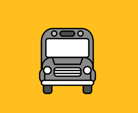 passenger transportation: Bus front icon design flat isolated. Bus and truck front, school bus front, icon design transport, transportation travel, car vehicle and tour school passenger, vector illustration