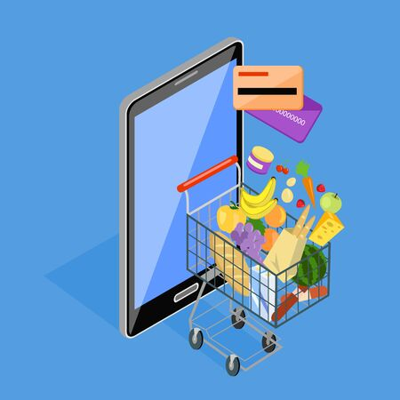 foodstuffs: Concept of shopping via internet shop. Isometric online and smartphone, card pay, 3d web sale, e-commerce and foodstuffs, business technology, convenience and mobile. Smartphone and basket of food