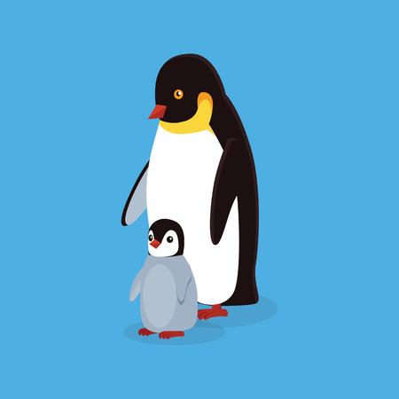 pinguin: Animal penguin design flat. Bird penguin family vector, cartoon polar animal winter isolated, wild penguin character illustration Illustration