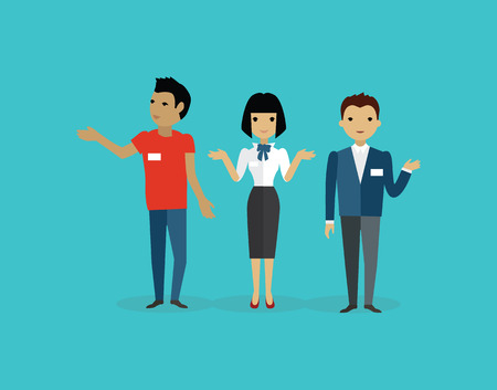 Sales team people group flat style. Sales person, salesman and sales meeting, marketing and business team, working job, management teamwork illustration