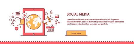 Social media web page design flat. Social network media marketing, blog web page, internet technology business, webpage content, website communication, vector illustration