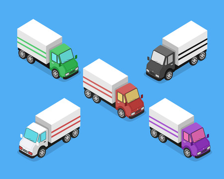 ciężarówka: Isometric delivery lorry car icon. 3d delivery vector truck. Service van fast delivery concept. Isometric cargo vehicle van transport truck car isolated on blue background