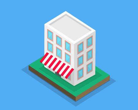 Flat design isometric concept of supermarket general store, shopping mall and fashion store icon. Marketing, supermarket shelf, supermarket aisle. 3d supermarket building with canopy on green lawn