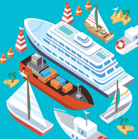 containership: 3d isometric set ships. Sea transport. Island and buoy, motorboat and containership, cruise and tanker, cargo shipping, boat transportation, ocean and vessel on blue background. Sea transport vector Illustration