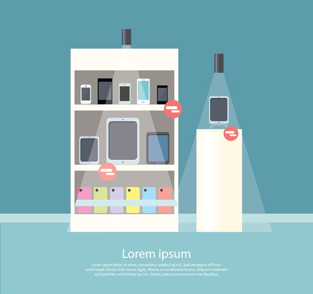 Sale of smartphone design flat store. Sale phone mobile, digital display smarphone device, technology buy, consumerism and store of smartphone, screen electronic gadget vector illustration
