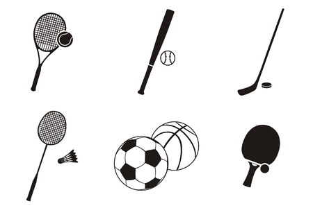 team game: Sport icon black white design flat. Sports logo, fitness icon, sports balls, sports symbols, team ball game, soccer play, sport set icon, tennis and badminton vector illustration
