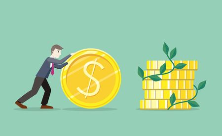 Time for invest, man with gold coin. Time investmen concept, finance and money, investor and stock market, business man invest gold, old gold money, banking treasure, roll dollar invest illustration  イラスト・ベクター素材