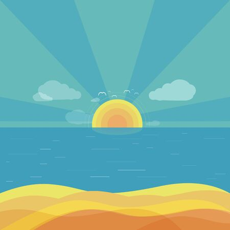 beach sunset: Travel beach sunrise design flat. Summer beach, holiday and summer travel, sun and sunrise summer, sea or ocean nature, vacation tourism sunset, sunny beach vector illustration