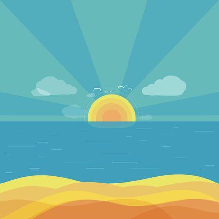 sun beach: Travel beach sunrise design flat. Summer beach, holiday and summer travel, sun and sunrise summer, sea or ocean nature, vacation tourism sunset, sunny beach vector illustration