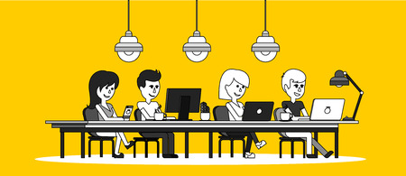 work table: People work in office design flat. Business woman and man, computer worker, Office desk table and workplace. Guy girl sitting on chair at table in front of computer laptop monitor and shining lamp Illustration