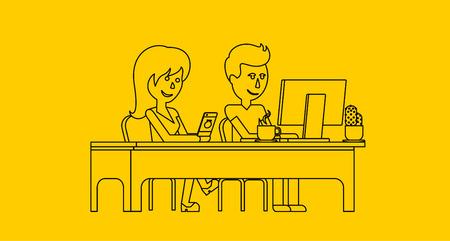 hombre: La gente trabaja en el diseño de oficinas plana. Mujer y hombre de negocios, que trabajan con ordenadores, Oficina de mesa escritorio y lugar de trabajo. chica individuo que se sienta en silla en la mesa delante de monitor de la computadora portátil Vectores