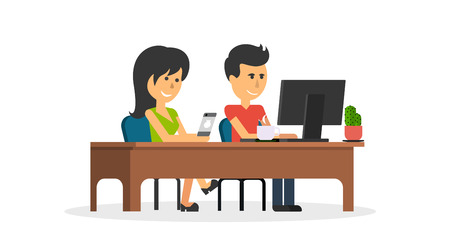 girl laptop: People work in office design flat. Business woman and man, computer worker, Office desk table and workplace. Guy girl sitting on chair at table in front of computer laptop monitor