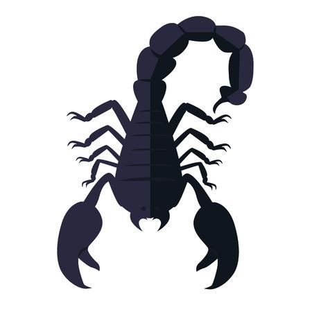 Escorpión animal aislado en el fondo blanco. Deadly escorpión venenoso negro con una punta afilada y fuertes garras de gran alcance en el contexto. Signo del zodiaco símbolo astrológico. ilustración vectorial Ilustración de vector