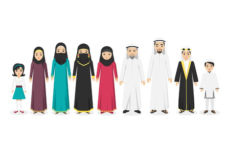 les gens de la famille arabe dans les vêtements design plat national. l'homme arabe et de la famille, les gens arabesque ou islamic, famille arabe musulman, garçon arabe, parent islam, homme, femme et enfants. Vector illustration