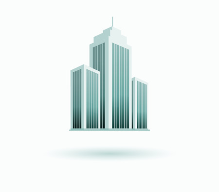 business district: Skyscraper logo building icon. Black building and isolated skyscraper, tower and office city architecture, house business building logo, apartment office vector illustration