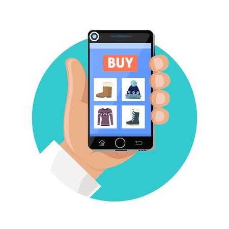 Online winkel icon flat. Verkoop en kopen. Kopen in de internetwinkel. Het selecteren van een product met de smartphone, de betaling van geld voor de aankoop. Showcase trendy kledingzaak. vector illustratie