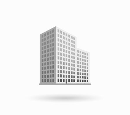 高層ビルのロゴの建物のアイコン。黒い建物と分離された高層ビルやタワー オフィス都市建築、家ビジネス建物のロゴ、アパート オフィス ベクト  イラスト・ベクター素材