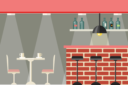 bar stool: Cafe or bar interior design flat. Iinterior of a cafe or a pub with furniture table and chairs. Bar brick counter with a large selection beverages illuminated with bright lights. Vector illustration Illustration
