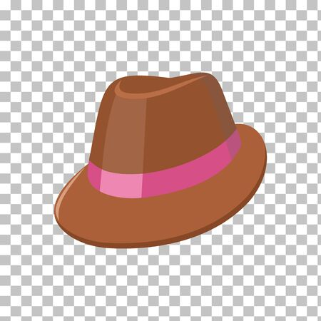 panama hat: Summer hat isolated on checkered background. Fashionable brown Panama hat with red ribbon for protection from sun and rain weather conditions. Garment for wearing on the head. Vector illustration Illustration