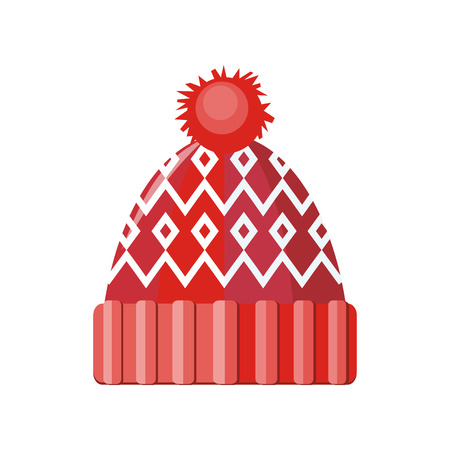 Winter red wool hat icon. Knitted winter woolen cap isolated on white background. Flat icon winter snowboard hat cap. Vector illustration