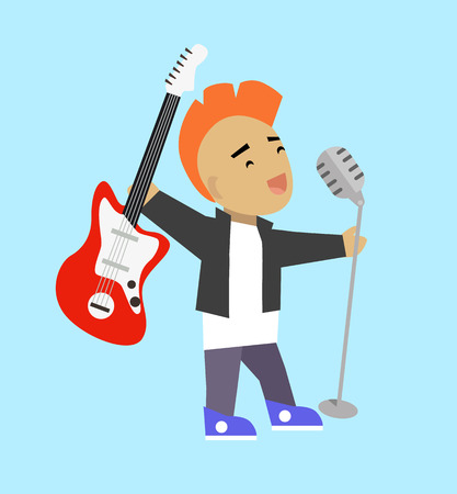 rock singer: Singer guitarist with microphone and guitar. Popular rock singer singing a song with electric guitar and microphone isolated on background. Young guy with iroquois haircut. Vector illustration