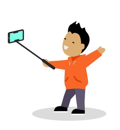 video shooting: Boy video blogger with smart phone. Blogger takes a video with the help of sticks and selfie smartphone. Young guy preparing for his plot online blog. Shooting telephone. Vector illustration