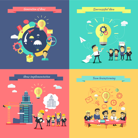 idea generation: Generation of ideas banners set. Brainstorming team implementation idea banner, teamwork get successful achievement of startup, business inspiration with creativity innovation. Vector illustration