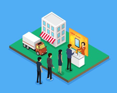 gadget: Sale and delivery new model device isometric style e queue of customers, men and women for the purchase of a new model of tablet or smartphone. Sales and fast delivery of goods. Vector illustration Illustration