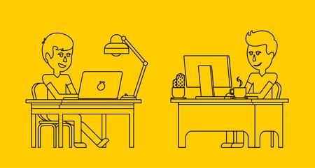 amarillo y negro: Trabajo del hombre con el ordenador portátil plana de diseño. Informática y hombre de negocios trabajador, el hombre en el escritorio de oficina, persona de negocios en el lugar de trabajo de mesa, carácter gestor de trabajo ilustración vectorial. Negro sobre amarillo