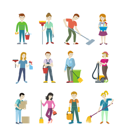 Cleaning staff man and woman character. Workers cleaning service. Woman vacuuming, floor washing and sweeping. Man wipes dust and takes out the garbage. People of set work.  Vector illustration Vettoriali