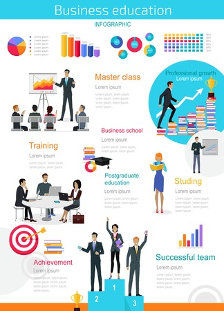 studing: Business education infographic. Master class and achievement, successful team training, presentation data and information, chart for study. Education infographic success people. Vector illustration
