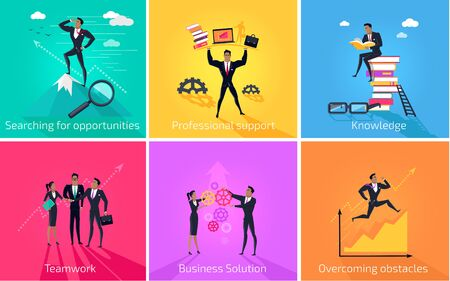 overcoming: Business banner teamwork and solution. Success businessman searching for oppotrunities and professional support, knowledge and teamwork, business solution and overcoming obstacles. Vector illustration Illustration