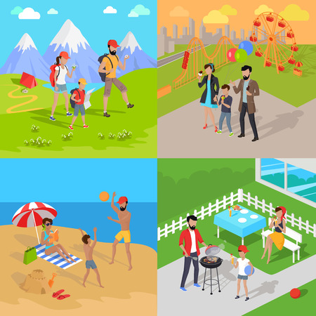 family park: Family holiday barbecue and amusement park. Family dad mom and child spend vacation. Relax on beach, mountain tourism, prepare barbecue in yard and walk in park attractions. Vector illustration