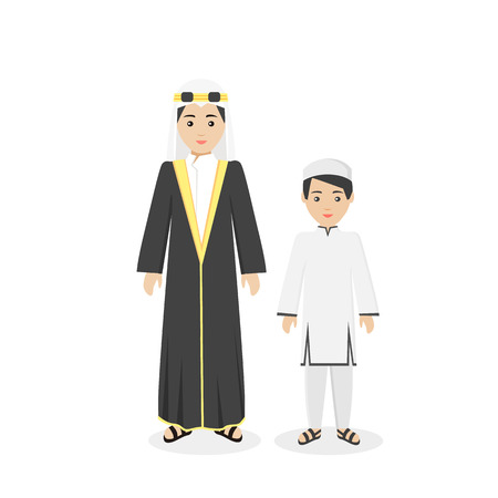 ethnicity: Arabian traditional clothes people. Arab traditional family muslim, arabic woman clothing, east arabian dress, ethnicity islamic face, person human mother with son isolated white. Vector illustration