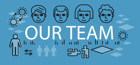 our: Our success team linear design. Teamwork and business team, our team business, office business success, work people, company and leadership, businessman and worker, resource office illustration
