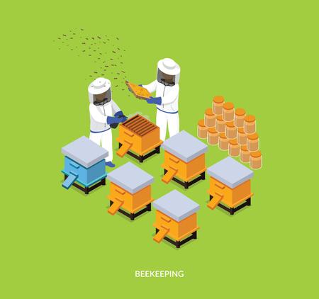 beekeeping: Isometric honey bee apiary with beekeeper design flat. 3D Beekeeping work, sweet honey, farm natural honey, 3d beekeeper collect eco honey, bee fly for honey on apiary, beemaster job, collect honey