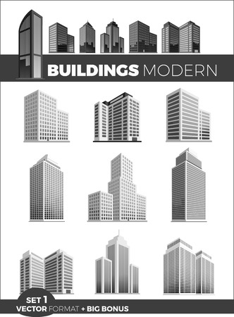 Wolkenkratzer Logo Gebäude Icon-Set. Schwarz Gebäude und isoliert Wolkenkratzer, Turm und Büro Stadtarchitektur, Haus Business-Gebäude-Logo, eine Wohnung, Büro Vektor-Illustration