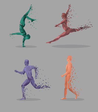 Geometrische Partikel laufen Tanz Menschen. Farbige geometrische Partikel in Form einer Reihe von Menschen, die springen laufen, tantsuyu und stehend auf einer Hand. Set Sportler. Vektor-Illustration