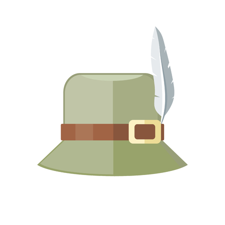 panama hat: Summer hat isolated on white background. Green panama with brown ribbon for protection from sun and rain weather conditions. Hunter hat with feather. Garment for wearing on head. Vector illustration Illustration