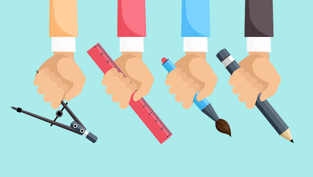 architect tools: Set of hands with tools for design. Architect designer for project drawings. Architect hands with pencil and ruler. Architects workplace. Technical project. Illustration