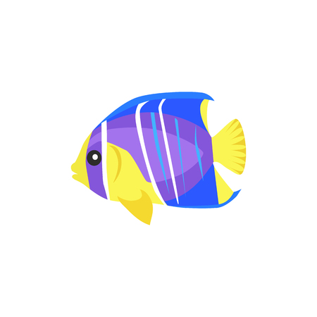 tail fin: Heniochus intermedius fish flat design. Beautifully painted fish living in the ocean or sea from the tail and fin. Creating living under water with a striped pattern isolated. Vector illustration