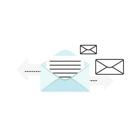 alerts: Contact concept message. Conceptual banner envelope contacts and message. Incoming and outbox alerts. Digital communication dialogue and correspondence. Vector illustration Illustration