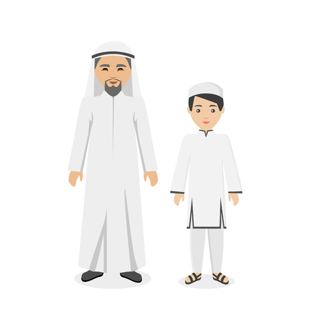 father and son: Saudi Arabia traditional clothes people. Arab traditional muslim, arabic man clothing, east arabian dress, ethnicity islamic face with beard, person father with son vector illustration