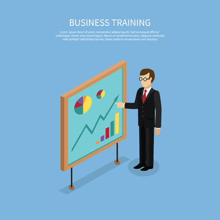 staff meeting: Training staff briefing presentation. Staff meeting, staffing and corporate business training, employee training, mentor business seminar meeting vector. Isometric Man near board with carts and graphs Illustration