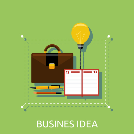 invent clever: Business idea, innovation and solution, creative design, vector illustration. Business idea in briefcase and notebook Illustration