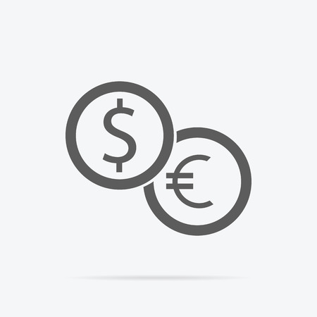 dealings: Currency exchange icon. Dollar and euro icon isolated. Banking transfer sign. Euro to dollar symbol. Vector illustration