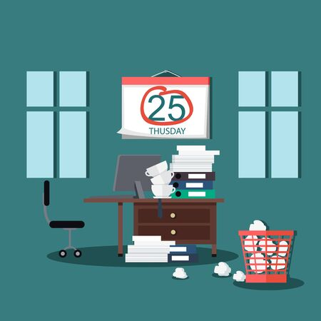 job deadline: Deadline design concept interior man. Calendar deadline, time and time running out, timeline and due date, business work office deadline job vector illustration.Table on which many folders with paper